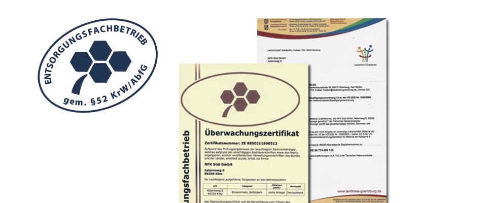 Zertifikate welche die NFK Süd GmbH als Entsorgungsfachbetrieb für Altfett und Speisereste ausweisen